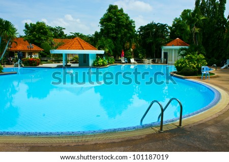 Swimming pool in the morning time