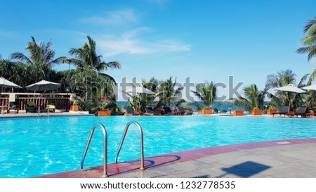 swimming pool in the sentara rosort in da nang, vietnam. #1232778535