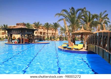 Swimming pool in tropical resort of Sharm el Sheikh, Egypt
