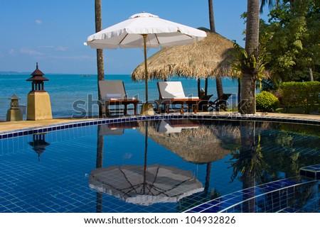 Swimming pool near the sea ,island Koh Chang ,Thailand.
