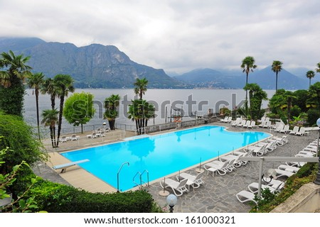 Swimming Pool Of A Grand Hotel Beside Lake Como In Bellagio Italy Stock Photo 161000321