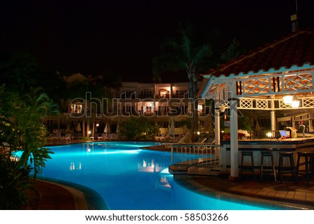 Swimming pool of luxury hotel at night. Tenerife, Canary Islands, Spain.