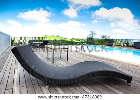 Swimming pool overlooking the mountains and sky