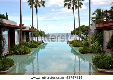 Swimming Pool Sea Palm Tree Resort
