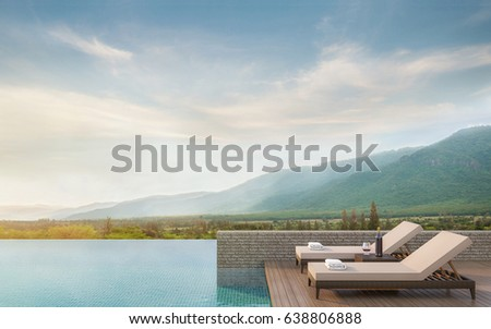 Swimming pool terrace with mountain view 3d rendering image.There are border less swimming pool and surrounding with nature and mountains