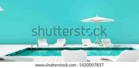 Swimming pool with beach umbrella and chairs. Summer vacation concept. 3d rendering