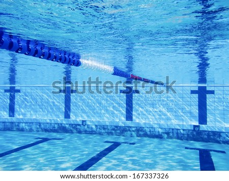Swimming pool with deep blue water