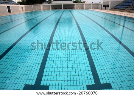 Swimming Pool With Lane Markings Olympic Size Stock
