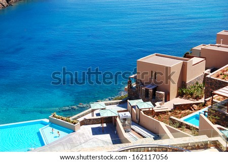 Swimming pool with sea view at the luxury hotel, Crete, Greece