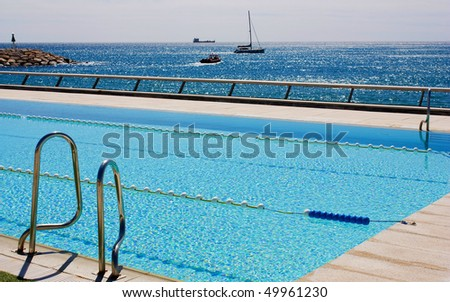 Swimming pool with the sea view.