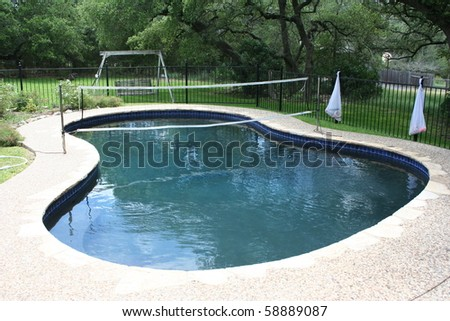 Swimming Pool With Volleyball Net In A Backyard Stock Photo 58889087 Shutterstock