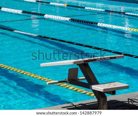 Swimming pool starting block outdoor. Bilder und Stock ...