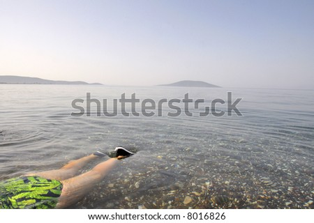 Swimming woman in clear sea