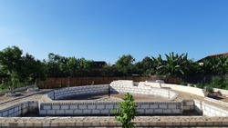 Swimmingpool on progress in little country