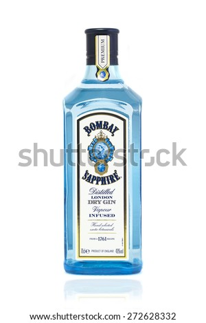 SWINDON, UK - APRIL 2, 2015: Bottle of Bombay Sapphire Gin on A White Background