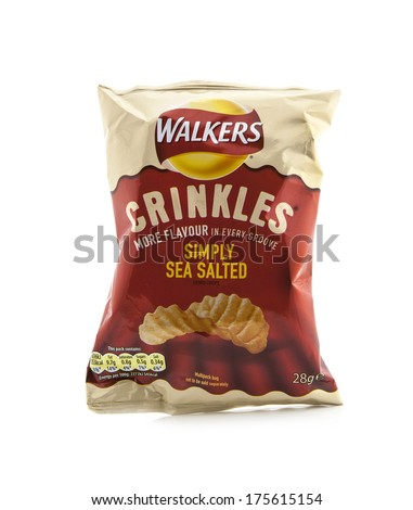 SWINDON UK FEBRUARY 5 2014 Bag of Walkers Crinkles Simply Sea Salted crisps isolated on a white background Walkers is a British snack food manufacturer