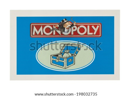 SWINDON UK JUNE 11 2014 English Edition of Monopoly showing Community Chest Card The classic trading game from Parker Brothers was first introduced to America in 1935