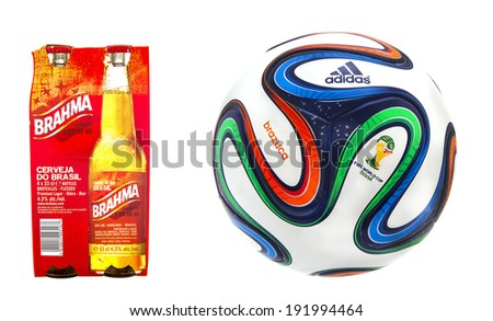 SWINDON UK MAY 10 2014 Four Pack of Brahma Beer with the FIFA 2014 World Cup Football on a White Background