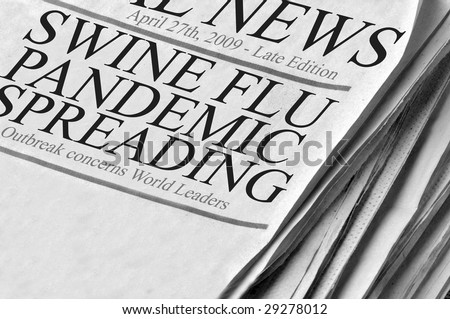 Swine Flu Pandemic Spreading - newspaper headlines from 4/27/2009 expressing concern about global flu outbreak. - stock photo