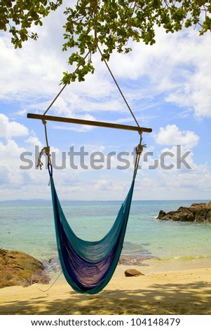 swing chairs and beach. Thailand.