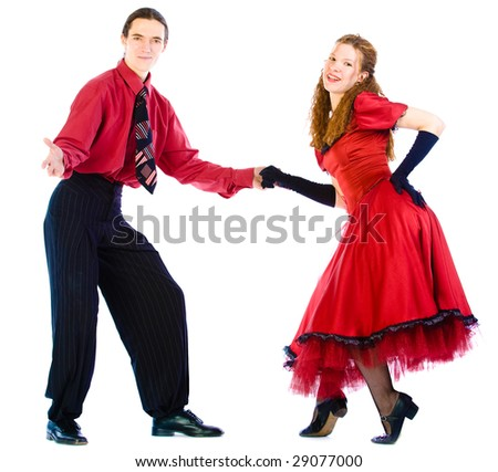 Swing dancers on white background