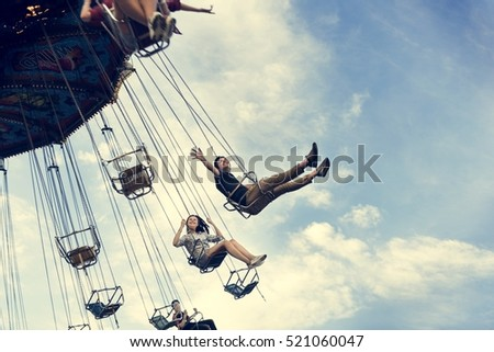 Swing Spinning Amusement Carnival Enjoyment Concept