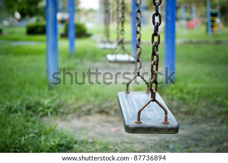 Swings, children's playground.