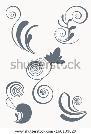 Swirl and floral elements in various styles