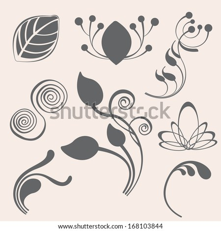 Swirl and floral elements in various styles for ornate and decoration