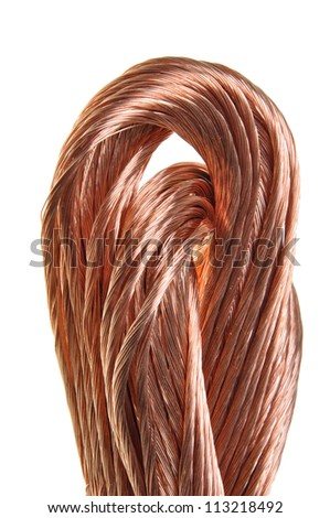 Swirl copper wire isolated on white background