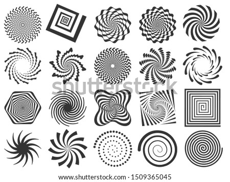 Swirl silhouette. Spiral swirling spin, swirls circle and abstract swirled silhouettes. Delusion abstraction, deceptive helix motion or optical hypnotic spin.  illustration isolated signs set