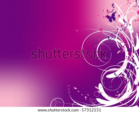 Swirls and a butterfly on a pink and purple background