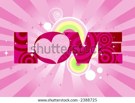 stock photo : Swirly-patterned heart adorns the word LOVE - stars,