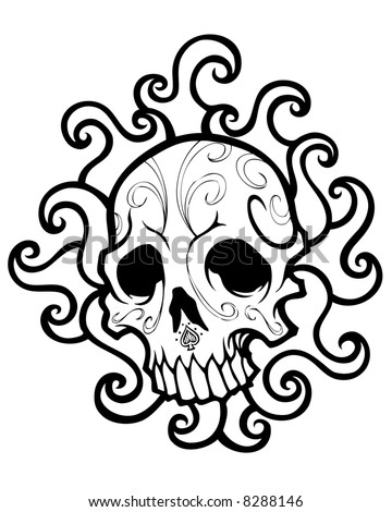 swirly skull image. abstract