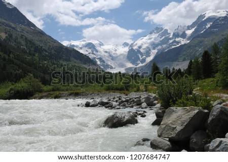 Swiss Alps: Due to the global climate change and hot and dry summers the glacier are melting rapidly like here at mount rosatsch river and morteratsch glacier in the upper Engadin