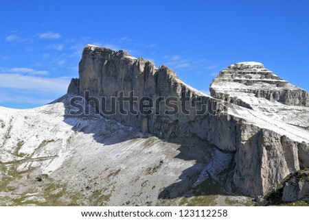 Swiss Alps in early fall. Cool slightly rocky peaks sprinkled with first snow