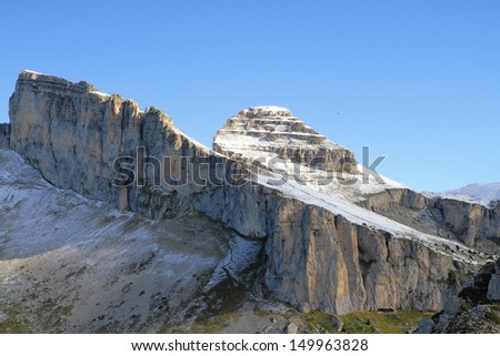 Swiss Alps in early fall. Cool slightly rocky peaks sprinkled with first snow  - stock photo
