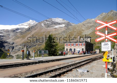 Swiss alps: The Mountain-Restaurant on Alp Grüm in the upper Engadin in canton Graubünden on the boarder to Italy #1186061971