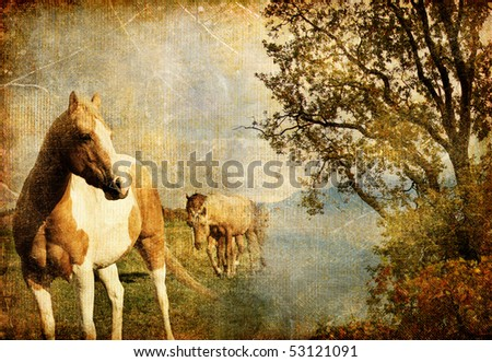 swiss autumn - artistic vintage picture - stock photo