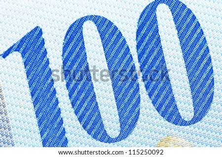 Swiss banknote in a macro shot