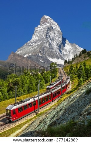 Swiss beauty, rack railway under Matterhorn,Zermatt,Valais,Switzerland,Europe