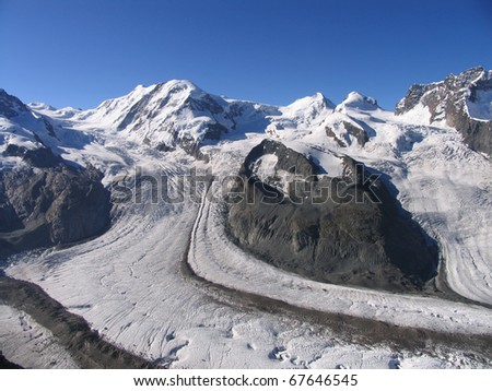 Swiss beauty, view to Gorner glacier of Monte Rosa massif from  Gornergrad
