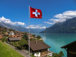 Swiss beauty, village Iseltwald at the lake Brienz, Brienzersee