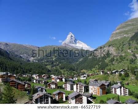 Swiss beauty, Zermatt under Matterhorn - stock photo