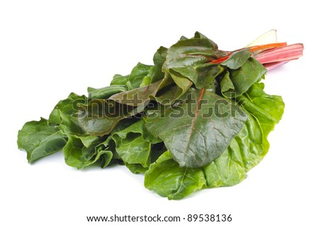 Swiss Chard Isolated on White