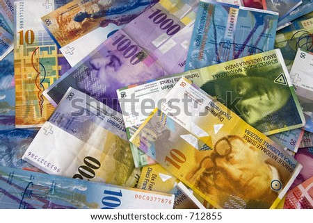 Swiss Currency Bank Notes (Swiss Francs).