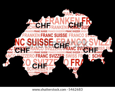 Swiss currency with map of Switzerland illustration JPG