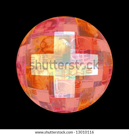 Swiss flag on currency globe illustration