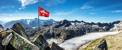 Swiss flag over the Rhone glacier