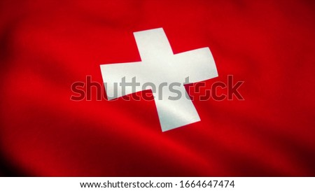 Swiss flag waving in the wind. National flag of Swiss. Sign of Swiss. 3d illustration.